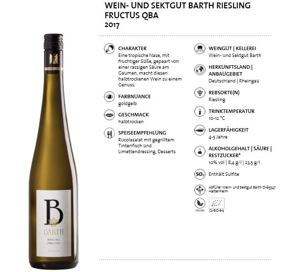 Wein- und Sektgut Barth Riesling Fructus QBA