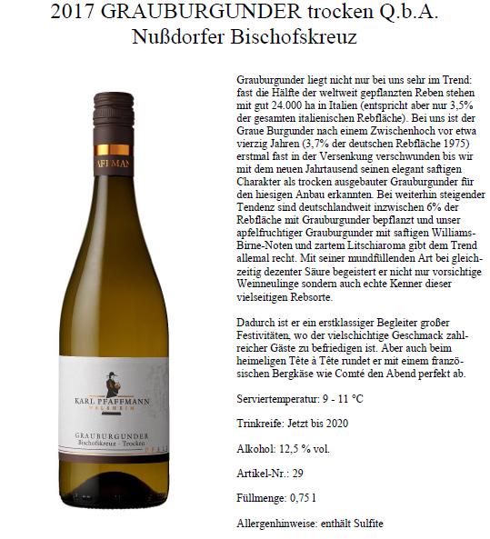 Grauburgunder trocken Q.b.A Nußdorfer Bischofskreuz