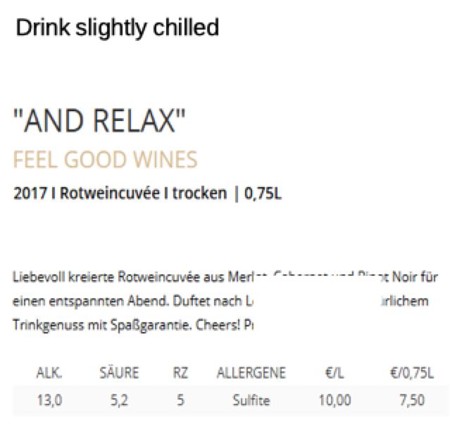 Drink slightly chilled