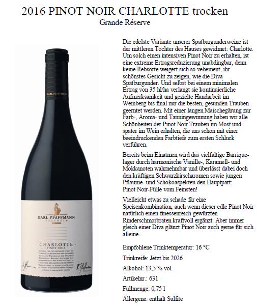 2016 Pinot Noir Charlotte Trocken